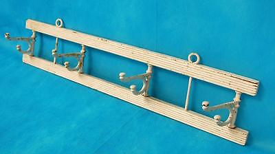 Antique Wood Coat Wall Rack With 4 Swivel Cast Iron Hooks Shabby Chic