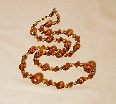 """Vintage  Czech Faceted Dark  Citrine & Amber Molded  Glass  Long Necklace 32"""""""