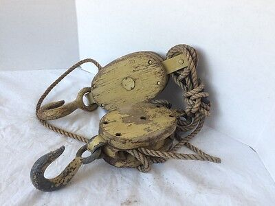 Lot Of 2 Antique Pulleys Block and Tackle Wood Iron Both Marked w/ Tag lot 11024