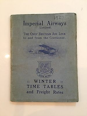 Imperial Airways Winter 1925 Timetable Ia