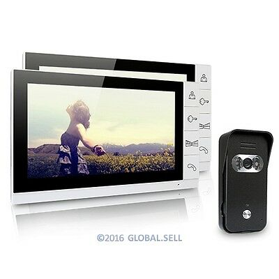 New Wired Video Door Phone Doorbell Intercom System 1XCamera And 2X9Inch Monitor