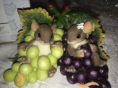 """Charming Tails """"I'M SO GRAPE-FUL FOR YOU"""" FITZ AND FLOYD MOUSE GRAPES"""
