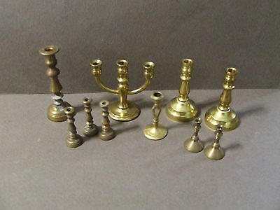 Lot Of 10 Vintage Mini Doll House Brass Candle Holders Sticks