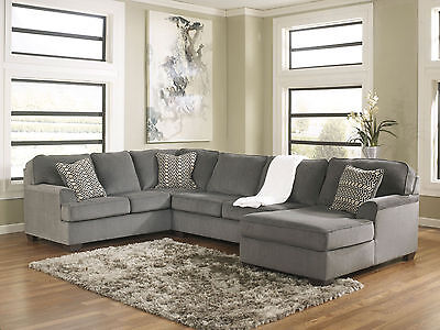SOLE-Oversized Modern Gray Fabric Sofa Couch Sectional Set Living Room Furniture