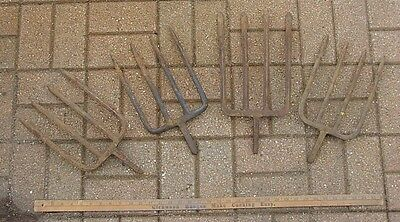 Old Used Tools,4 Four Tine Pitch Fork Heads,Potato,Hay,Garden,Barnyard,Farm,Rust