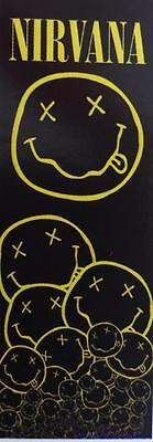 """NIRVANA  Rock flag/ Tapestry/ Fabric Poster """"Smiley Pattern"""" Door Size   NEW"""