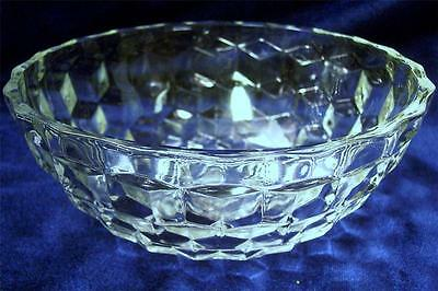 """Jeannette Glass CUBE Crystal Clear 6 5/8"""" Salad Bowl EXC!"""