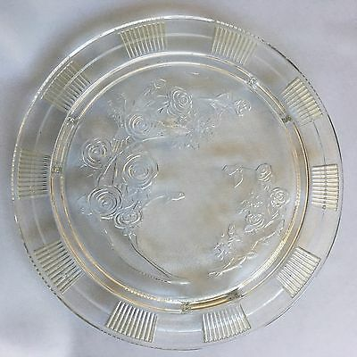 Sharon Cabbage Rose Depression Glass Cake Plate Clear Footed Vintage Federal