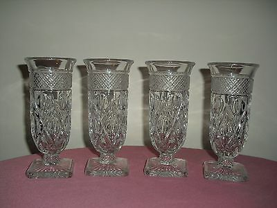 4 IMPERIAL Cape Cod Clear Glass Footed Parfait / Juice / Water Goblets - Vintage