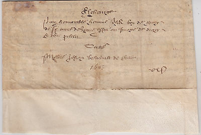 Wow Rare 1605 French Original Vellum 411 Years Old Folds Together Like A Letter