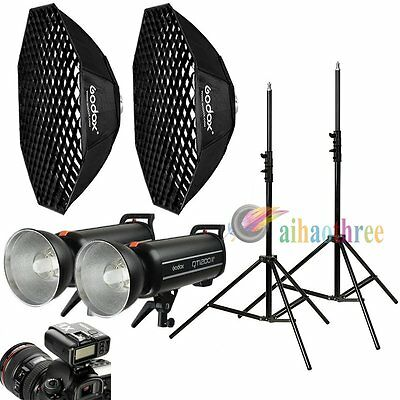 2Pcs Godox QT1200IIM 1200W 1/8000s Studio Flash Light + X1T Trigger + Softbox