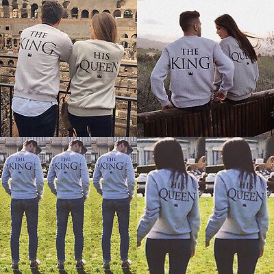 Couple T-Shirt The King and His Queen Love Matching Pullover Shirts Tee Tops NEW