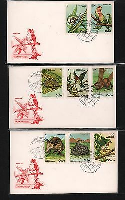 CARIBE 1984 FDC´s (3) SNAIL COTORRA ALMIQUI JUBO FORK SET OF 8 DIF SC# 2765-2742