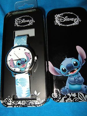 New Disney Lilo & Stitch Hawaii Hibiscus Floral Wrist Watch Rubber Band Gift Tin