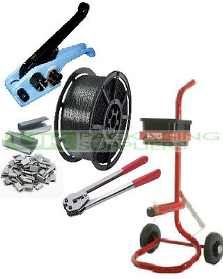 Hand Pallet Strapping Banding Kit 12Mm Coil, Tension Seal Tools, Seals, Trolley