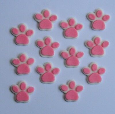 Edible paw prints dog bones cupcake topper paw patrol for Animal print edible cake decoration