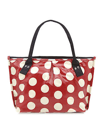 Red polka dot bag - Oilcloth shoulder Craft bag - Ladies Beach bag - Shoppper
