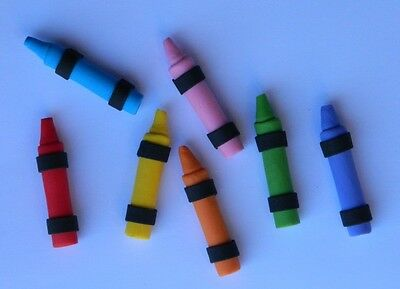 12 edible 3D CRAYONS CAKE CUPCAKE topper DECORATION ART drawing elmo SCHOOL