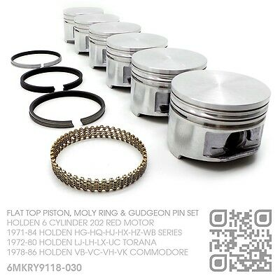 """202+030"""" Flat Top Piston & Moly Ring Set 6 Cyl Red Motor Holden Hq-Hj-Hx-Hz-Wb"""