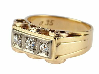 Art Deco 14 K 585 Gelb Gold 950 Platin 0,35 ct Brillant Diamant Ring !