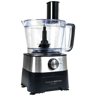 Charles Bentley Stainless Steel Food Processor + 12 Attachments - 2 Yr Guarantee