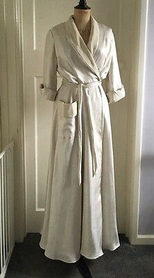 Original 1930s Night Gown Dressing Gown Ivory Size 10 Long Robe Special Size 10