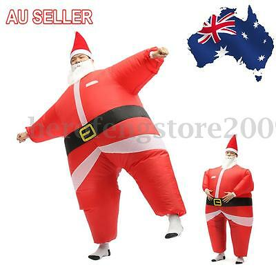 AU Inflatable Santa Costume Battery Operated Christmas Xmas Fancy Dress Suit
