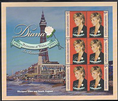 Grenada Mnh 1998 Princess Diana Souvenir Sheet Of 6