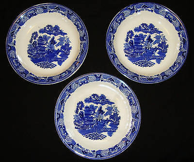 3 Beautiful Vintage H&k Tunstall Blue&white Bowls