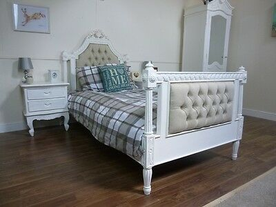 Handmade French Upholstered Single Bed In White