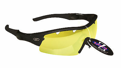 RayZor Black Uv400 Clear Yellow Light Enhancing Vented Cricket Sunglasses RRP£49
