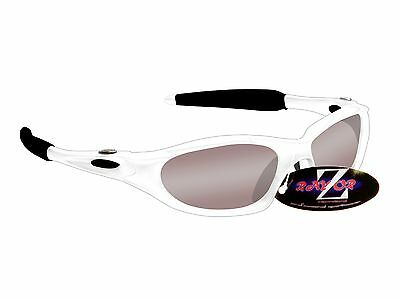RayZor Uv400 White Framed Smoked Mirrored Lens Cricket Wrap Sunglasses RRP£49