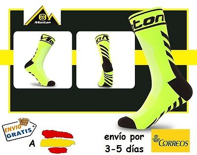 CALCETINES CICLISMO MONTON PRO CYCLING SOCKS, color Amarillo Fluor