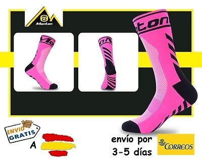 CALCETINES CICLISMO MONTON PRO CYCLING SOCKS, color Rosa Fluor