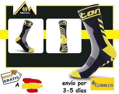 CALCETINES CICLISMO MONTON PRO CYCLING SOCKS, color Negro-Amarillo