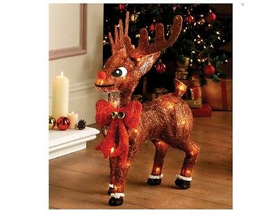 New Christmas Xmas Sisal Light Up Red Nosed Reindeer Christmas Decoration BOXED