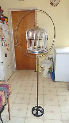 VTG brass stainless birdcage w/ victorian brass stand cast iron base
