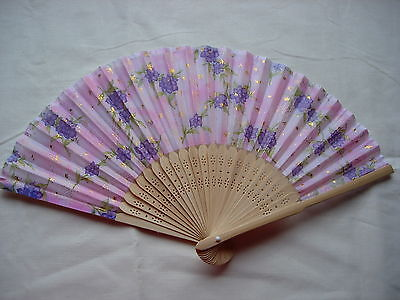 Vintage Handpainted Silk & Wood Hand Fan  -Violets With Gold Highlights