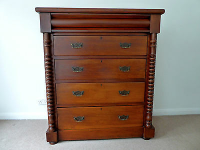 Large Victorian Chest Of 5 Drawers