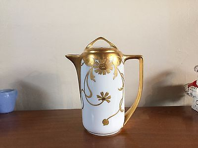 Pickard Hand Painted Coffee Pot Raised Gold Daisey 1905-1910