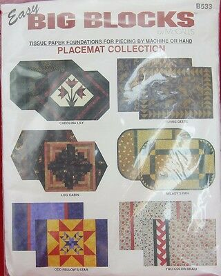 Vintage Easy Big Blocks by Mc CALLS TISSUE PAPER FOUNDATIONS Placemat collection