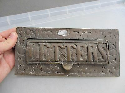 Vintage Cast Brass Letterbox Letter Post Slot Architectural Victorian Style Old