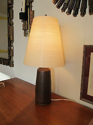 MCM Lotte Bostlund Ceramic Table Lamp with Fiberglass & Jute Shade