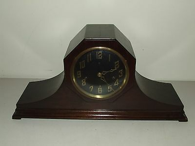 Antique Working 1923 New Haven Westminster Chime Mahogany Art Deco Mantel Clock