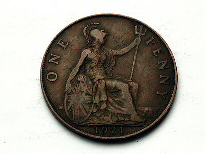UK (Great Britain) 1921 ONE PENNY (1d.) King George V British Coin