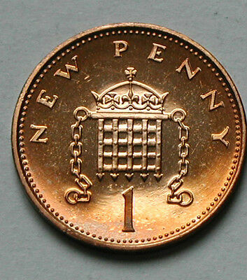UK (Great Britain) 1971 ONE PENNY PROOF (1p) Queen Elizabeth II Coin UNC