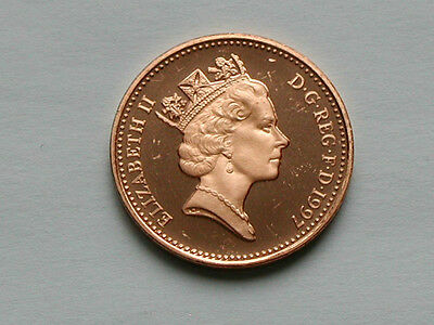 UK (Great Britain) 1997 1 PENNY (1p) Elizabeth II Coin From Proof Set - BU UNC