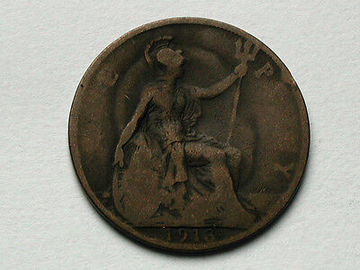 UK (Great Britain) 1913 ONE PENNY (1d.) King George V British Coin - GHOSTING