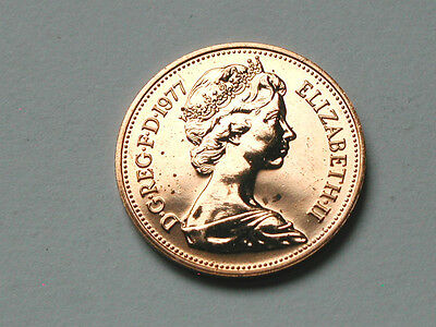 UK (Great Britain) 1977 TWO PENCE PROOF (2p) Queen Elizabeth II Coin RED UNC