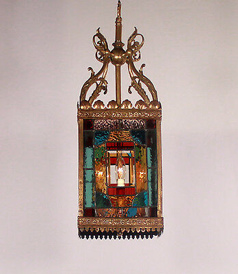 Antique 4 Light Multi-Colored Leaded Glass Bronze Lantern